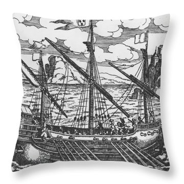 French Galley Operating In The Ports Of The Levant Since Louis Xi  Throw Pillow by French School