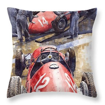 French Gp 1952 Ferrari 500 F2 Throw Pillow by Yuriy  Shevchuk