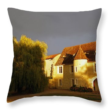 French House At Sunset Throw Pillow