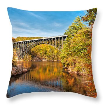 French King Bridge In Autumn Throw Pillow