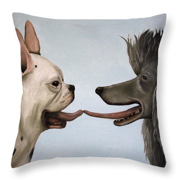 French Kiss Throw Pillow by Leah Saulnier The Painting Maniac