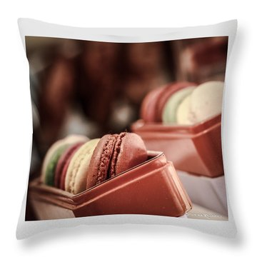 Throw Pillow featuring the photograph French Macaroons by Stwayne Keubrick