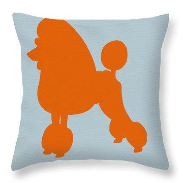 French Poodle Orange Throw Pillow by Naxart Studio