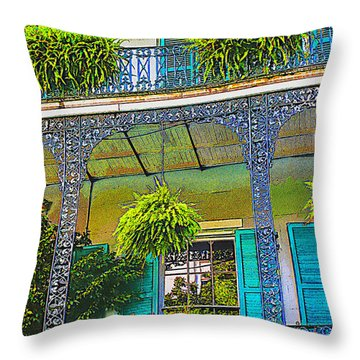French Quarter Balcony 1 Throw Pillow by David Doucot