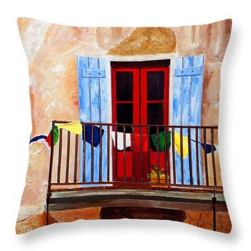 French Quarter Balcony Nola Throw Pillow