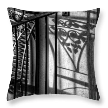 French Quarter Balcony Shadow Throw Pillow