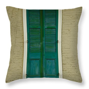 French Quarter Door - 15 Throw Pillow by Susie Hoffpauir