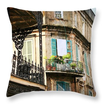 Throw Pillow featuring the photograph French Quarter Morning by Heather Green