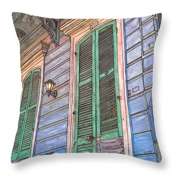 French Quarter Shutters 368 Throw Pillow by John Boles