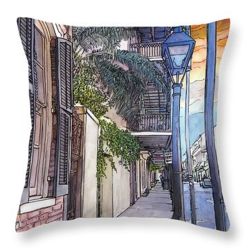 French Quarter Sidewalk 443 Throw Pillow by John Boles