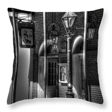 French Quarter Street Lamp In Black And White Throw Pillow