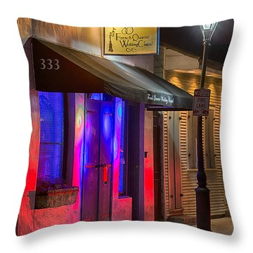 French Quarter Wedding Chapel Throw Pillow