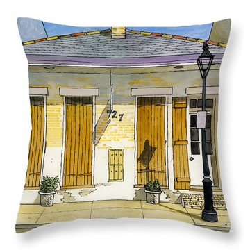 French Quarter Yellow Brick House 367 Throw Pillow by John Boles