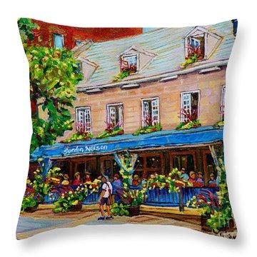 French Restaurant Jardin Nelson Paris Style Bistro Place Jacques Cartier Terrace Garden C Spandau   Throw Pillow
