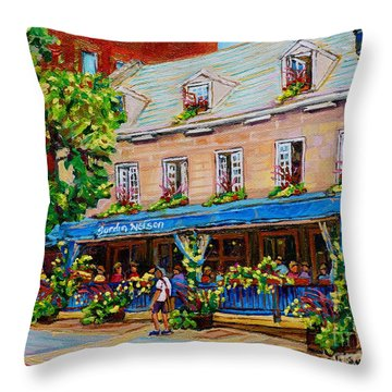 French Restaurant Jardin Nelson Paris Style Bistro Place Jacques Cartier Terrace Garden C Spandau   Throw Pillow