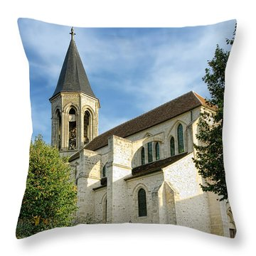 French Village Church Throw Pillow by Olivier Le Queinec