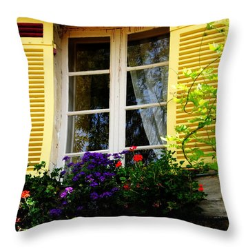 Throw Pillow featuring the photograph French Window Dressing by Jacqueline M Lewis