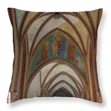 Fresco Painting Over Archway At Malbork Throw Pillow