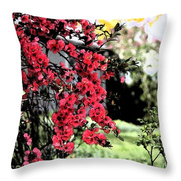 Quince Flowers Throw Pillow