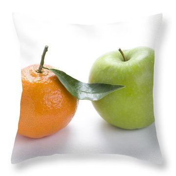 Throw Pillow featuring the photograph Fresh Apple And Orange On White by Lee Avison