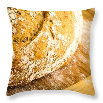 Fresh Baked Loaf Of Artisan Bread Throw Pillow by Edward Fielding