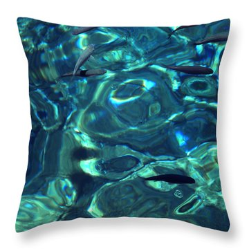 Fresh Clean Santorini Ocean  Water Throw Pillow