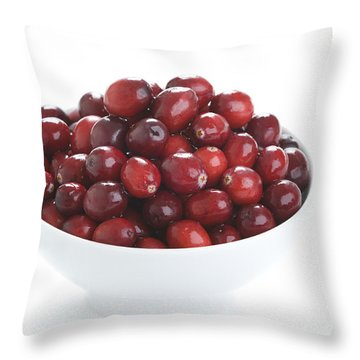 Throw Pillow featuring the photograph Fresh Cranberries In A White Bowl by Lee Avison