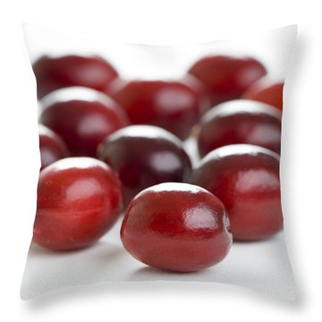 Throw Pillow featuring the photograph Fresh Cranberries Isolated by Lee Avison