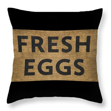 Throw Pillow featuring the digital art Fresh Eggs by Nancy Ingersoll