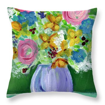 Fresh Flowers- Painting Throw Pillow