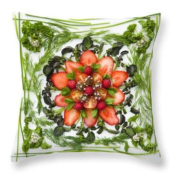 Fresh Fruit Salad Throw Pillow by Anne Gilbert