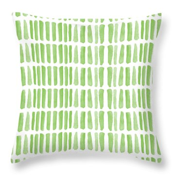 Fresh Grass- Abstract Pattern Painting Throw Pillow