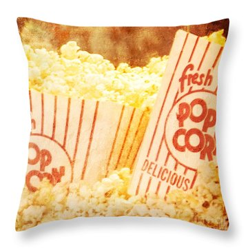 Fresh Hot Buttered Popcorn Throw Pillow