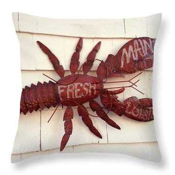 Fresh Maine Lobster Sign Boothbay Harbor Maine Throw Pillow