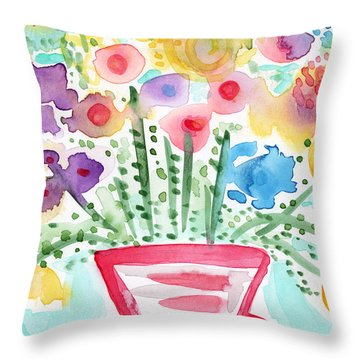 Fresh Picked Flowers- Contemporary Watercolor Painting Throw Pillow