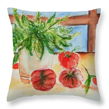 Fresh Picked Tomatoes And Basil Throw Pillow by Elaine Duras