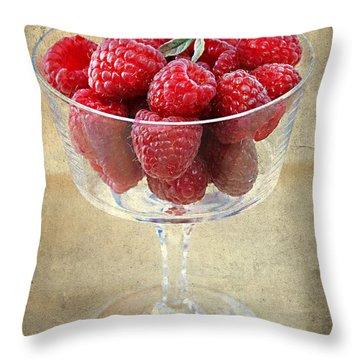 Fresh Raspberries Throw Pillow by Darren Fisher