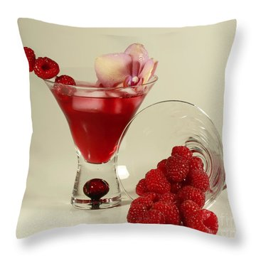 Fresh Raspberry Cosmos Delight Throw Pillow by Inspired Nature Photography Fine Art Photography