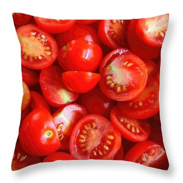 Fresh Red Tomatoes Throw Pillow by Amanda Stadther