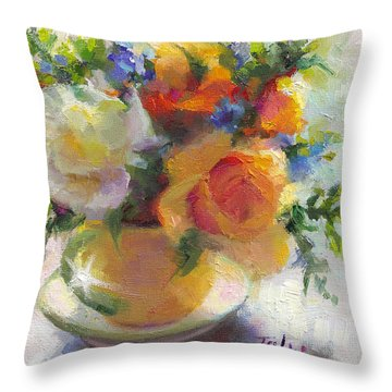 Fresh - Roses In Teacup Throw Pillow