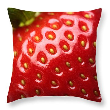 Fresh Strawberry Close-up Throw Pillow by Johan Swanepoel