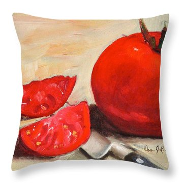 Throw Pillow featuring the painting Fresh Tomatoes by Dan Redmon