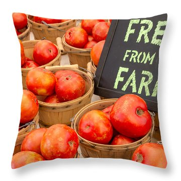 Fresh Tomatoes In Baskets At Farmers Market Throw Pillow
