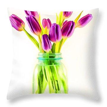 Fresh Tulips Throw Pillow by Darren Fisher