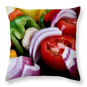 Fresh Veggie Kabobs On The Grill Throw Pillow