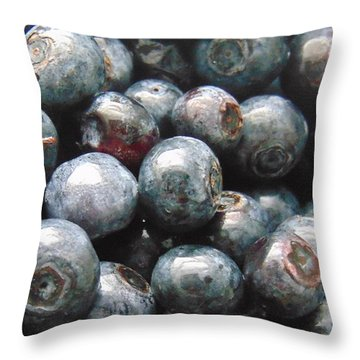 Fresh Virginia Blueberries Throw Pillow by Charlotte Gray