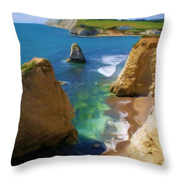 Throw Pillow featuring the digital art Freshwater Bay by Ron Harpham