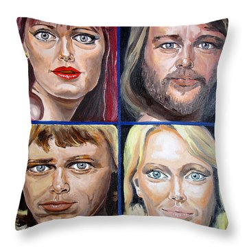 Throw Pillow featuring the painting Frida Benny Bjorn Agnetha by Daniel Janda