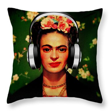 Throw Pillow featuring the mixed media Frida Jams by Michelle Dallocchio