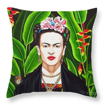 Frida Throw Pillow by Joseph Sonday